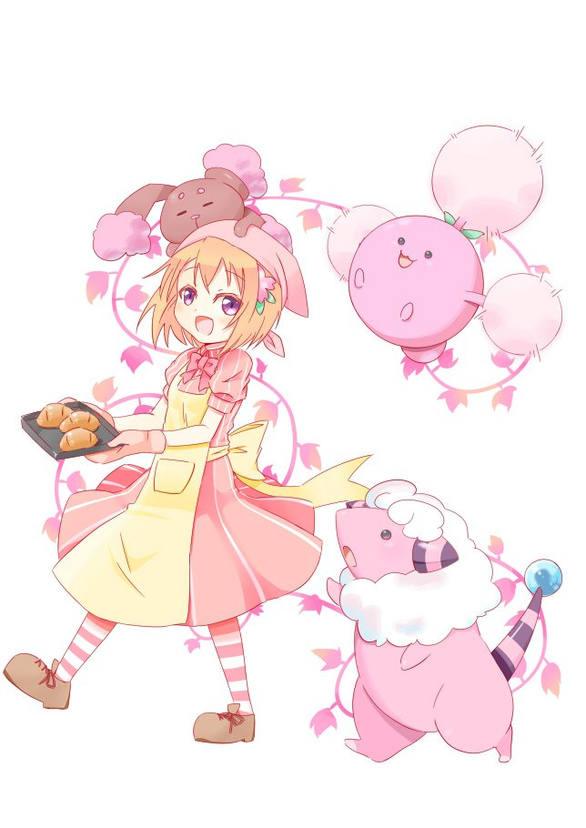 1girl :d alternate_color apron bangs blush bow bowtie bread brown_footwear buneary crossover dress eyebrows_visible_through_hair flaaffy flat_chest flower food full_body gochuumon_wa_usagi_desu_ka? hair_flower hair_ornament head_scarf hetareeji holding hoto_cocoa jumpluff on_head open_mouth orange_hair pantyhose pink_dress pink_flower pink_neckwear plant pokemon pokemon_(creature) puffy_short_sleeves puffy_sleeves shiny_pokemon shoes short_hair short_sleeves smile standing standing_on_one_leg striped striped_dress tray vines violet_eyes white_background yellow_apron