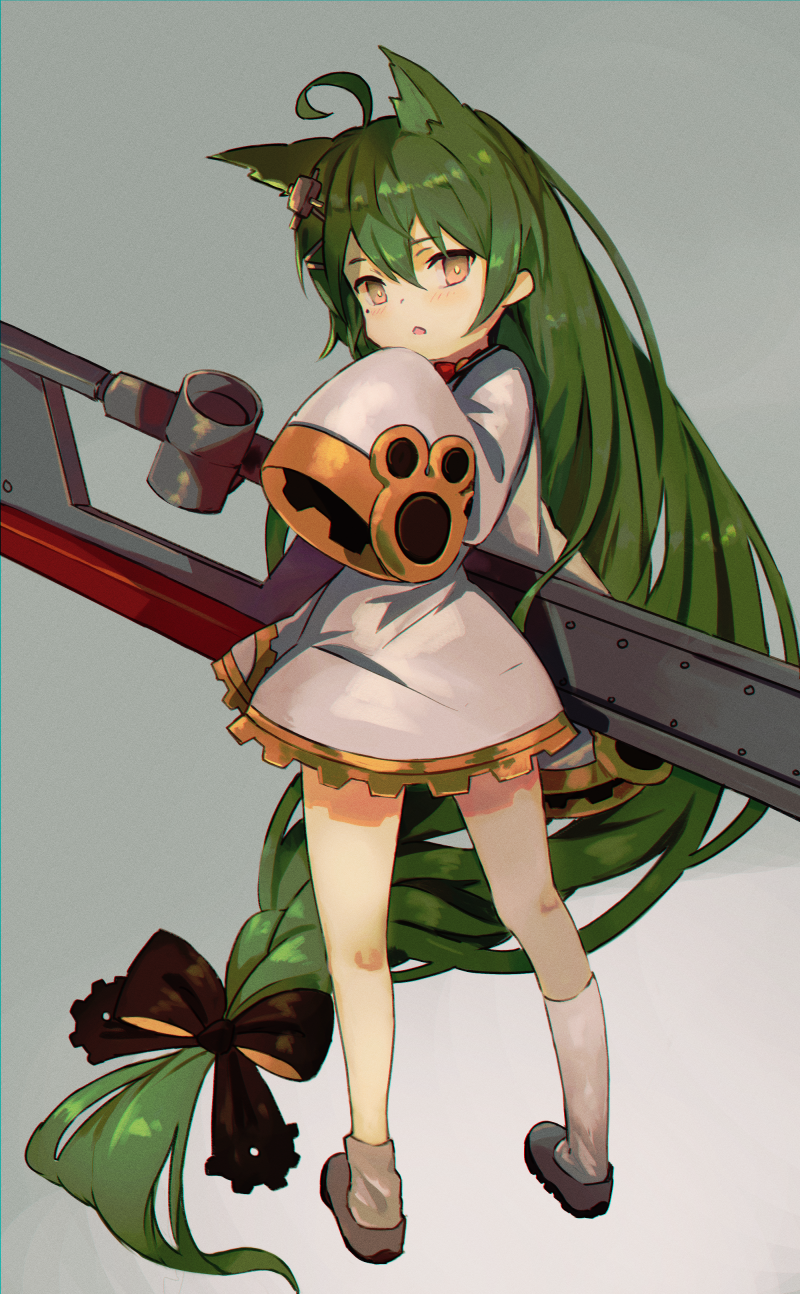 1girl absurdly_long_hair ahoge akashi_(azur_lane) animal_ears asymmetrical_legwear azur_lane bangs black_bow blush bow braid brown_eyes cat_ears commentary_request dress eyebrows_visible_through_hair full_body green_hair grey_background grey_footwear hair_between_eyes hair_bow hair_ornament highres kneehighs long_hair long_sleeves looking_at_viewer looking_back parted_lips red_bow sailor_dress shinagiku shoes simple_background sleeves_past_wrists socks solo standing very_long_hair white_dress white_legwear wide_sleeves