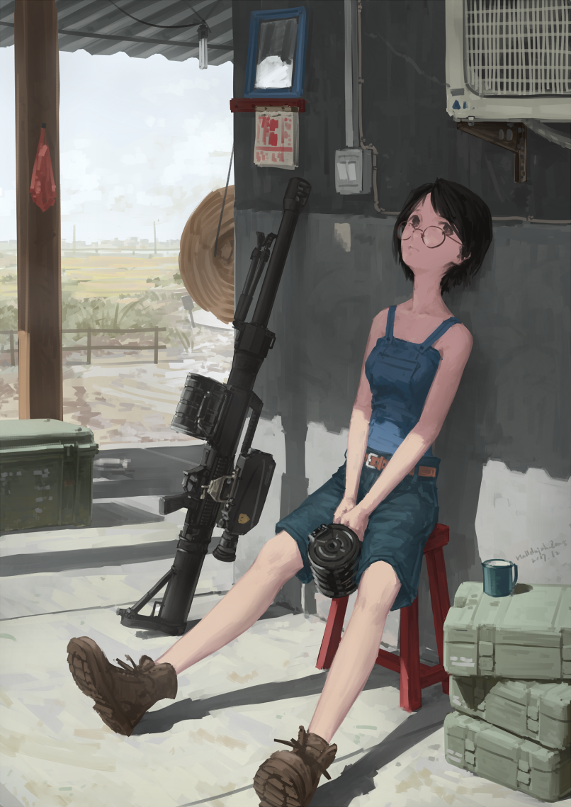 1girl ankle_boots bare_arms bare_shoulders belt black_hair boots brown_eyes commentary_request crate cup dated day fence glasses grenade_launcher hallelujah_zeng hat hat_removed headwear_removed holding magazine_(weapon) military original outdoors overalls porch rural short_hair signature sitting sky solo standing stool straw_hat weapon