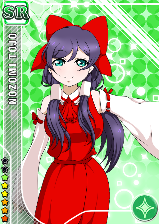 1girl ascot blush crossover deviantart green_eyes hair_ribbon hair_tubes hakurei_reimu hakurei_reimu_(cosplay) lips long_hair love_live! love_live!_school_idol_project moonflower20000 red_dress solo touhou toujou_nozomi twintails violet_hair