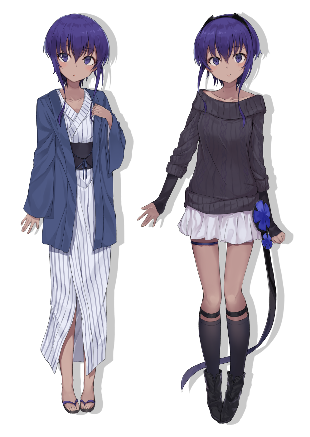 1girl :o ankle_boots arm_warmers arms_at_sides assassin_(fate/prototype_fragments) bangs black_footwear black_hairband black_legwear black_sweater blush boots casual closed_mouth collarbone dark_skin eyebrows_visible_through_hair fate/prototype fate/prototype:_fragments_of_blue_and_silver fate_(series) full_body hair_between_eyes hairband happi highres jacket japanese_clothes kimono kneehighs looking_at_viewer miniskirt monobe_tsukuri multiple_views open_clothes open_jacket parted_lips purple_hair ribbed_sweater sandals sash short_hair_with_long_locks sidelocks simple_background skirt smile standing striped sweater thigh_strap vertical-striped_kimono vertical_stripes violet_eyes white_background white_kimono white_skirt yukata