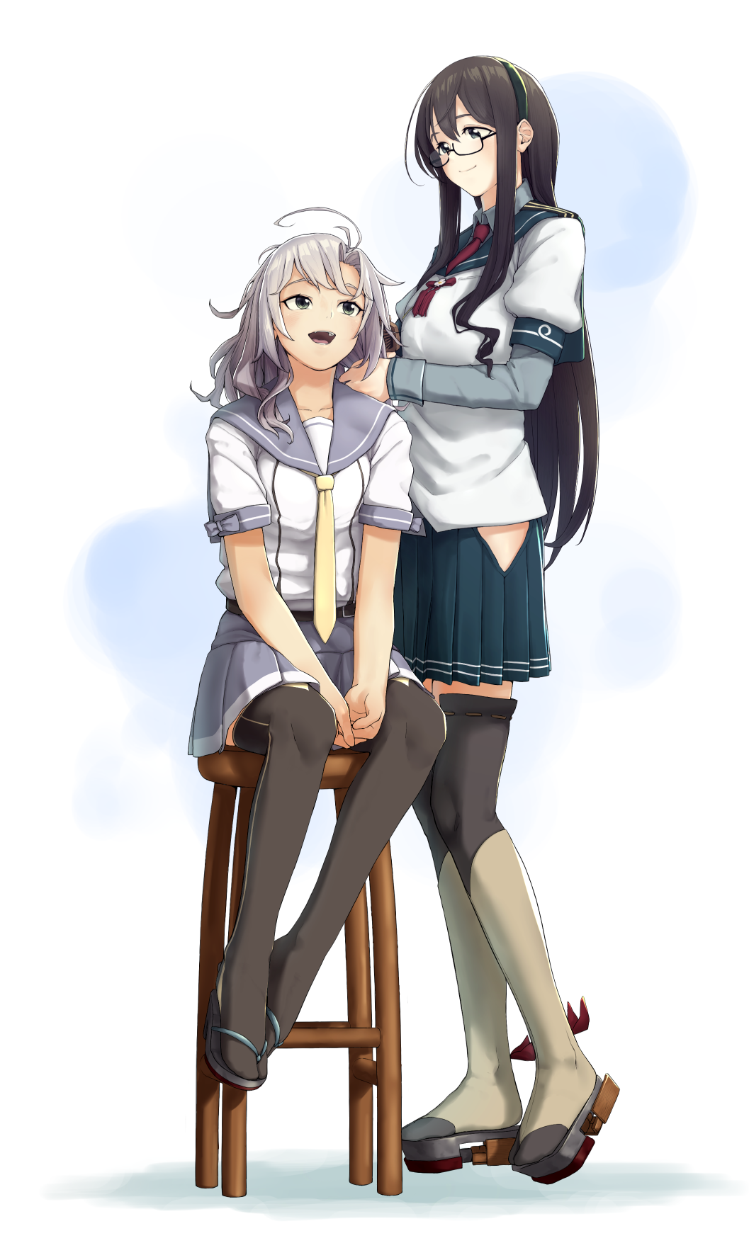 2girls black_hair black_legwear blue_eyes blue_sailor_collar blue_skirt enoshito full_body glasses green_eyes grey_hair grey_sailor_collar grey_skirt hairband highres hip_vent kantai_collection kinugasa_(kantai_collection) long_hair multiple_girls necktie ooyodo_(kantai_collection) pleated_skirt red_neckwear sailor_collar school_uniform semi-rimless_eyewear serafuku short_twintails sitting skirt standing stool thigh-highs twintails yellow_neckwear