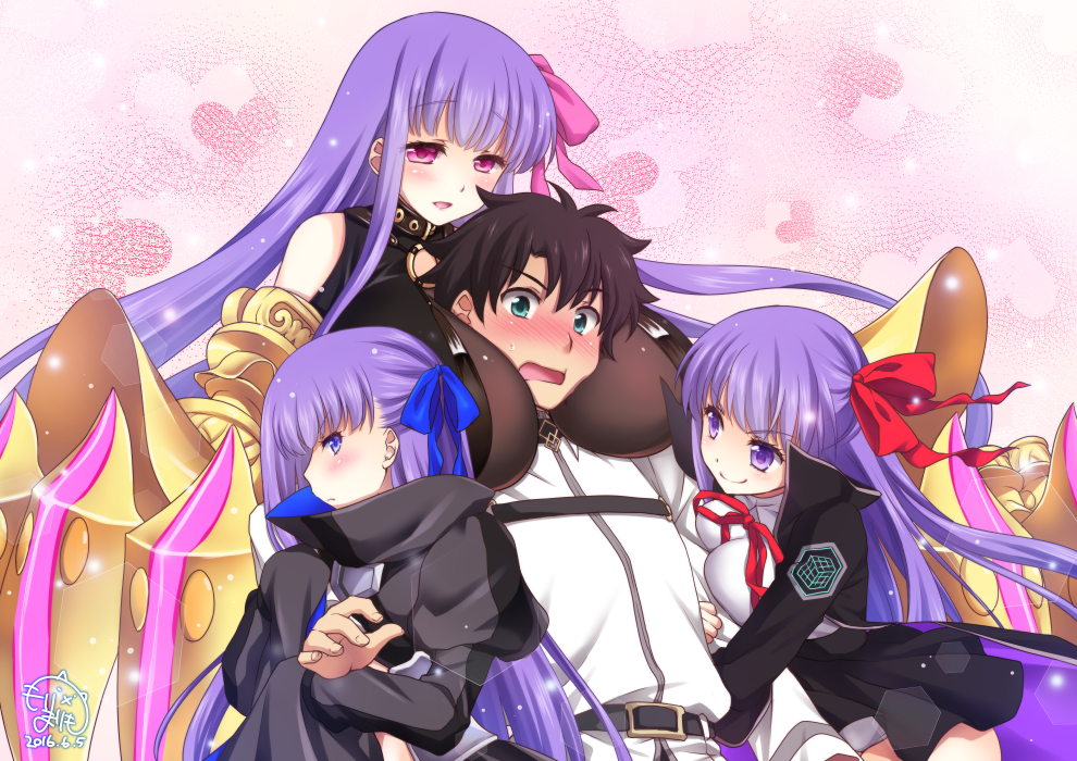 10s 1boy 3girls bb_(fate/extra_ccc) belt black_coat black_shirt black_skirt blue_eyes blue_ribbon blush breasts brown_eyes claws fate/extra fate/extra_ccc fate/grand_order fate_(series) fujimaru_ritsuka_(male) gauntlets green_eyes hair_ornament hair_ribbon huge_breasts jacket large_breasts long_hair long_sleeves male_focus meltlilith mori_marimo multiple_girls multiple_persona passion_lip pink_eyes pink_ribbon purple_hair red_ribbon ribbon shirt short_hair skirt sleeveless sleeveless_shirt sleeves_past_wrists violet_eyes white_jacket white_shirt