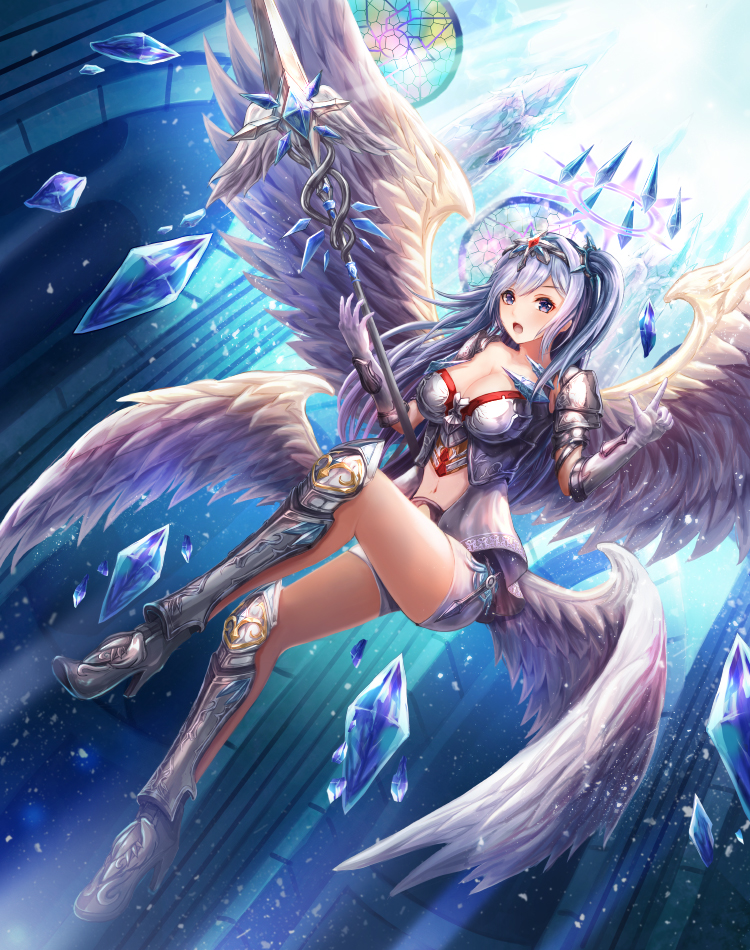1girl :o angel angel_wings armor bangs blue_hair blush boobplate boots breasts church cleavage collarbone cross crystal dutch_angle elbow_gloves fantasy feathered_wings floating flying from_below full_body gem gloves greaves grey_footwear hair_ornament hairband halo hands_up high_heel_boots high_heels holding holding_spear holding_weapon index_finger_raised indoors large_breasts light light_particles light_rays long_hair looking_at_viewer looking_down lunacle multiple_wings navel_cutout one_leg_raised one_side_up open_mouth original purple_hair ruby_(stone) shiny shiny_hair shorts solo spaulders stained_glass weapon white_feathers white_gloves white_shorts white_wings wings