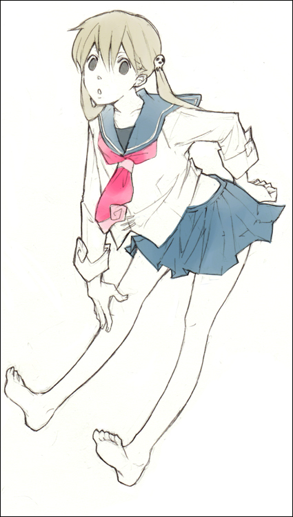 00s barefoot feet katsura_miya maka_albarn school_uniform sketch soul_eater spot_color twintails
