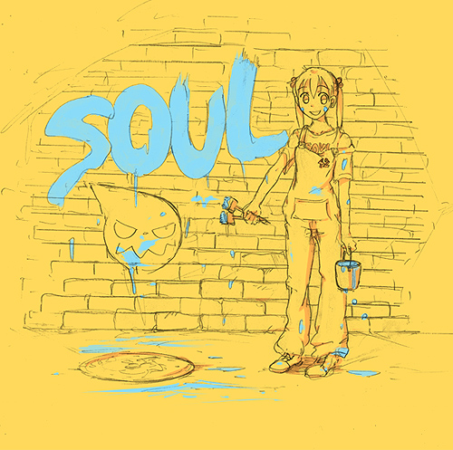 00s 1girl aquaxdrop grin logo lowres maka_albarn overalls paint paint_can paintbrush smile solo soul_eater yellow