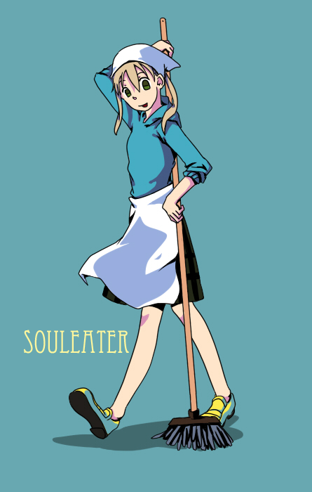00s apron aquaxdrop green_eyes maka_albarn mop no_socks skirt soul_eater twintails