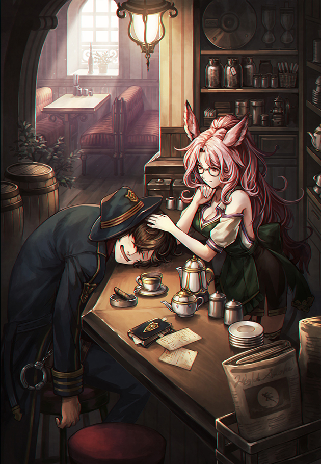 1boy 1girl ashtray barrel book bookmark breasts brown_eyes brown_hair catharine_(granblue_fantasy) character_request chin_rest cigar cleavage closed_eyes collarbone cuffs detached_sleeves erun_(granblue_fantasy) glasses granblue_fantasy hair_over_one_eye hand_on_another's_head handcuffs hat high_ponytail indoors jar leaning_forward light long_hair looking_at_another medium_breasts newspaper paper parted_lips pink_hair plate saucer sitting smile standing steam stool teapot very_long_hair window zinnkousai3850