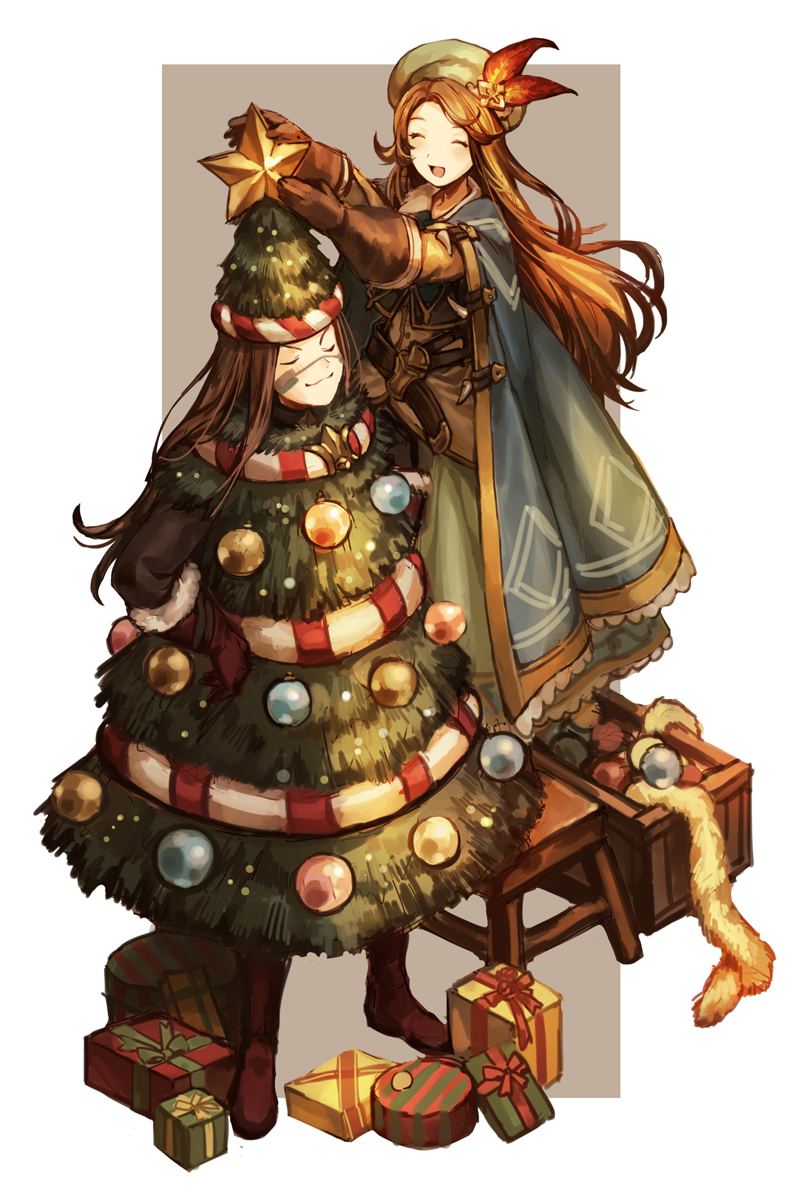 1boy 1girl :d ^_^ blush border box brown_footwear brown_gloves brown_hair character_request christmas_ornaments christmas_tree closed_eyes closed_mouth crate facial_mark full_body gift gift_box gloves granblue_fantasy green_hat hat hat_feather highres long_hair open_mouth outside_border outstretched_arms smile smug standing star stool tinsel v-shaped_eyebrows very_long_hair zinnkousai3850