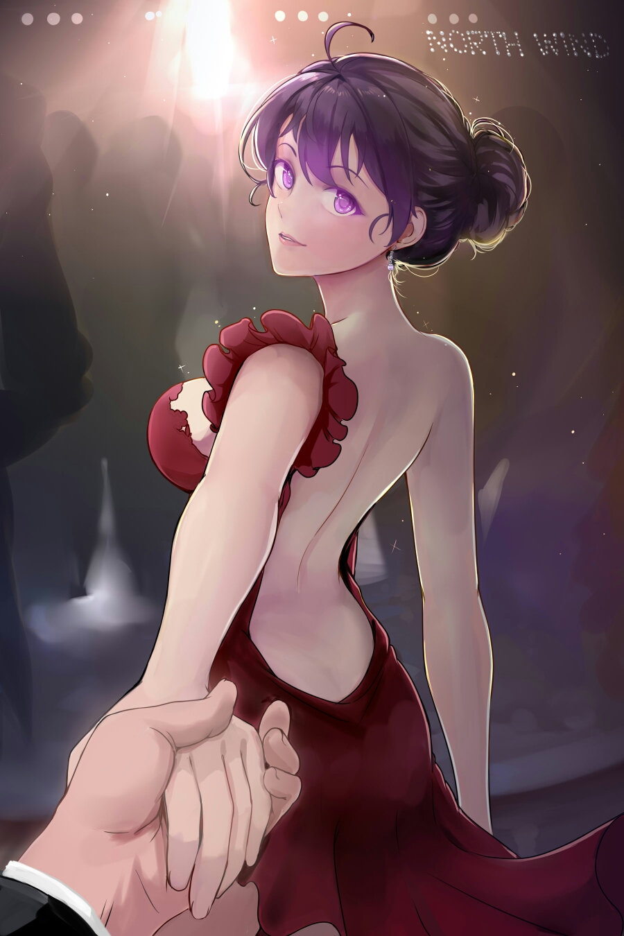 1boy 1girl ahoge arched_back arm_at_side asymmetrical_clothes back backless_outfit backlighting bare_back bare_shoulders beifeng_han blush breasts crowd dress earrings evening_gown foreshortening glowing glowing_eyes hair_bun hand_holding highres jewelry lips long_sleeves looking_at_viewer medium_breasts miyaura_sanshio open-back_dress original parted_lips pov purple_hair red_dress short_hair sideboob single_strap solo_focus standing violet_eyes