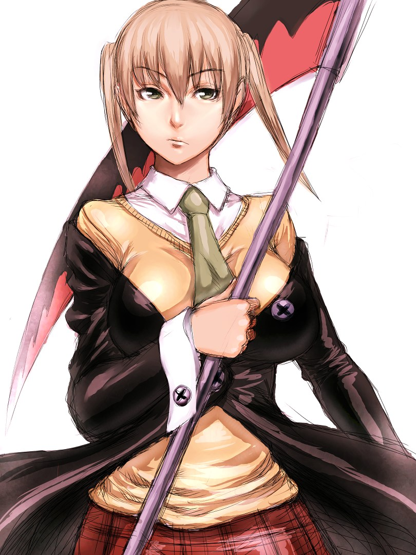 00s 1girl blonde_hair breasts fumio_(rsqkr) green_eyes large_breasts maka_albarn necktie older scythe sketch skirt solo soul_eater twintails