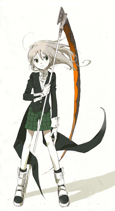 00s boots gloves maka_albarn niwa scythe shorts soul_eater tuxedo twintails wind