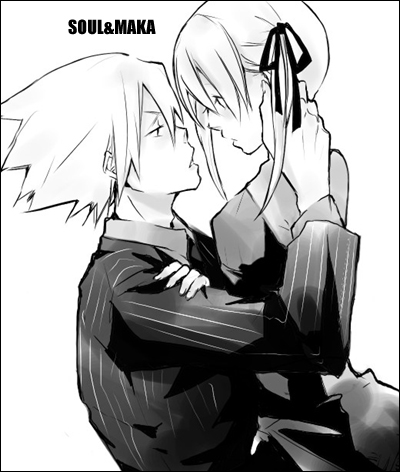 00s 1boy 1girl closed_eyes formal from_side hug katsura_miya long_sleeves lowres maka_albarn monochrome profile short_hair simple_background soul_eater soul_eater_(character) suit white_background