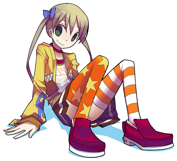 00s 1girl alternate_costume blonde_hair blue_bow bow brown_skirt choker clothes_writing full_body green_eyes hair_bow jacket long_hair long_sleeves looking_at_viewer maka_albarn mismatched_legwear multicolored multicolored_clothes multicolored_legwear open_clothes open_jacket orange_legwear pleated_skirt red_shoes shirt shoes sitting skirt smile solo soul_eater star star_print striped striped_legwear suzuon t-shirt thigh-highs twintails upskirt