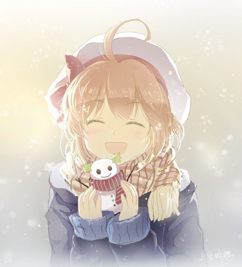 1girl ahoge blonde_hair character_request closed_eyes copyright_request hat holding open_mouth scarf shangguan_feiying short_hair smile snowman solo upper_body