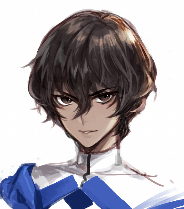 1boy arjuna_(fate/grand_order) brown_eyes brown_hair dark_skin dark_skinned_male eyebrows_visible_through_hair fate/grand_order fate_(series) hair_between_eyes jacket kangetsu_(fhalei) light_smile looking_at_viewer male_focus parted_lips simple_background solo turtleneck upper_body white_background