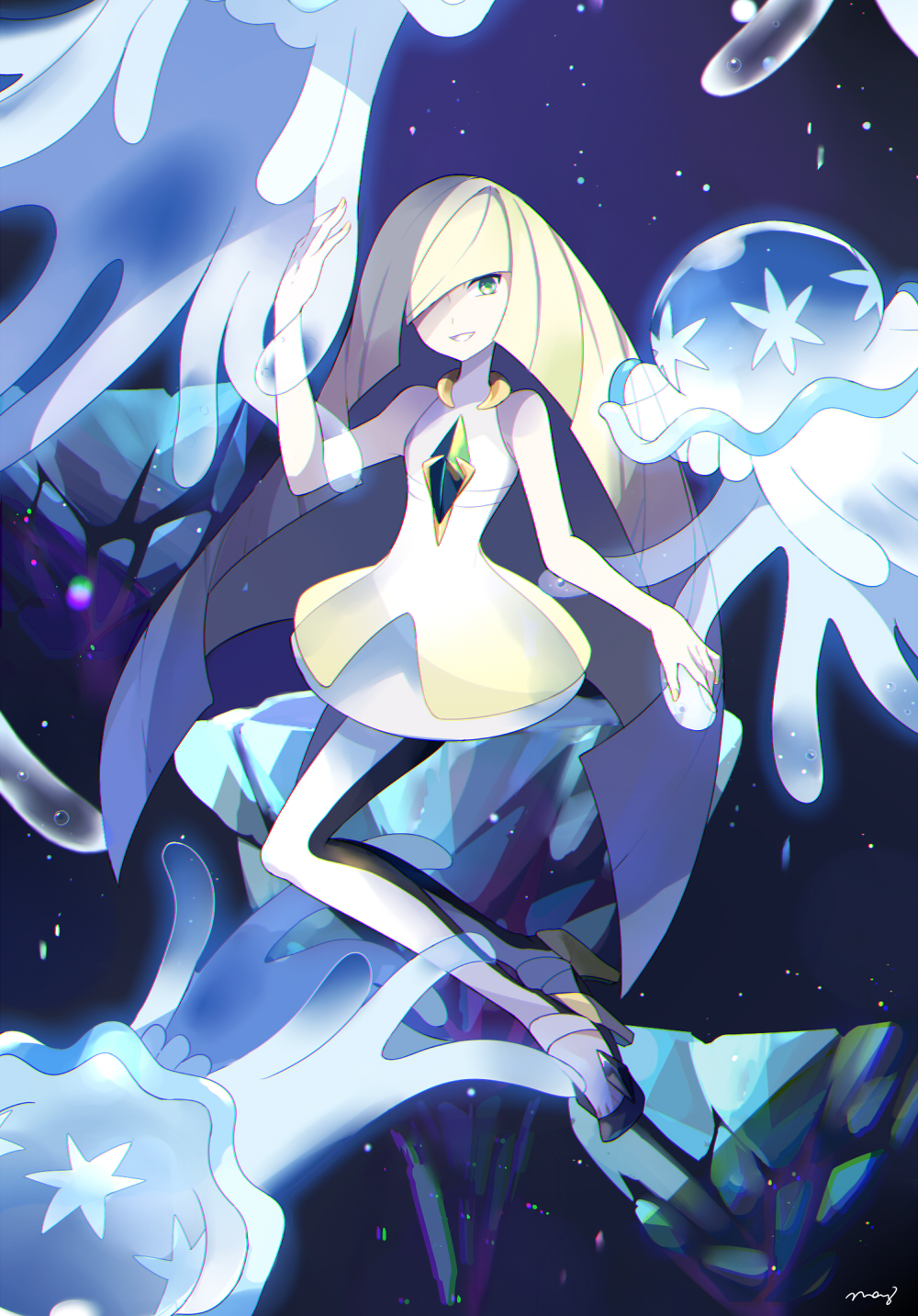 1girl bare_arms bare_shoulders black_footwear blonde_hair dress emerald floating_rock full_body gem green_eyes hair_over_one_eye hand_up high_heels highres layered_dress light_particles long_hair looking_at_viewer lusamine_(pokemon) mei_(maysroom) nihilego pants pokemon pokemon_(creature) pokemon_(game) pokemon_sm short_dress sitting sleeveless sleeveless_dress straight_hair tentacle ultra_beast very_long_hair white_dress