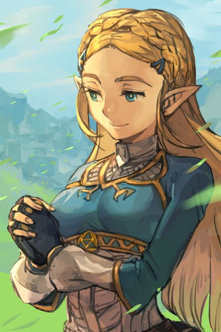 1girl bangs black_gloves blonde_hair blue_eyes braid closed_mouth day fingerless_gloves fingernails gloves grass hair_ornament hairclip hands_clasped hankuri interlocked_fingers long_hair long_sleeves outdoors own_hands_together parted_bangs pointy_ears princess_zelda smile solo the_legend_of_zelda underbust