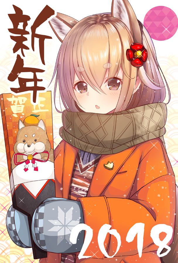 1girl 2018 animal_ears animal_print bangs blonde_hair blush brown_eyes brown_scarf checkered coat dog_ears dog_print enpera eyebrows_visible_through_hair flower glint grey_mittens hagoita hair_between_eyes hair_flower hair_ornament happy_new_year holding light_particles long_hair long_sleeves looking_at_viewer mittens new_year open_clothes open_coat orange_coat original paddle scarf shiny shiny_hair solo tareme thick_eyebrows translated upper_body yoshiheihe