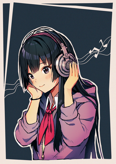 1girl akiyama_mio bangs black_eyes black_hair blue_background blush closed_mouth collared_shirt commentary eyebrows_visible_through_hair hands_on_headphones headphones hood hood_down hoodie k-on! long_hair looking_at_viewer musical_note neckerchief red_neckwear satchely shirt smile solo white_shirt wing_collar wristband