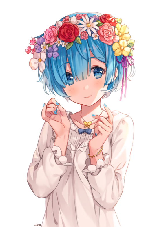 1girl blouse blue_eyes blue_hair blue_nails blush bracelet closed_mouth commentary_request eyebrows_visible_through_hair fingernails flower hair_flower hair_ornament hands_up head_tilt head_wreath hitsukuya jewelry long_sleeves looking_at_viewer nail_polish purple_flower re:zero_kara_hajimeru_isekai_seikatsu red_flower red_rose rem_(re:zero) rose short_hair simple_background smile solo upper_body white_background white_blouse white_flower yellow_flower