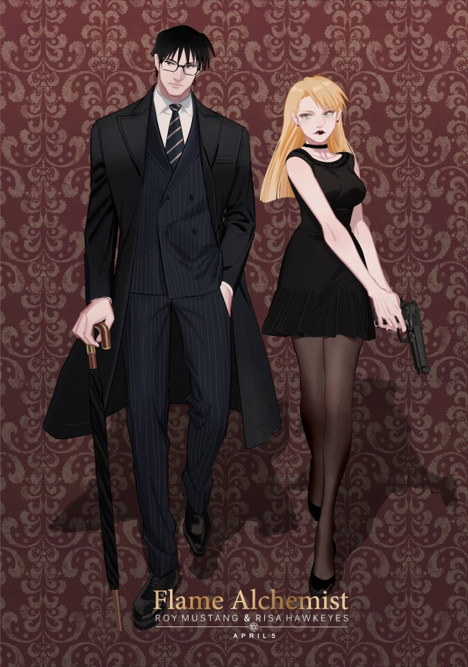 1boy 1girl black_dress black_eyes black_footwear black_hair black_lipstick blonde_hair breasts character_name choker coat dated dress earrings expressionless formal fullmetal_alchemist glasses gun hand_in_pocket high_heels jewelry lipstick long_hair looking_at_viewer looking_away makeup necktie p0ckylo pants red_background riza_hawkeye roy_mustang shadow shirt short_hair simple_background standing umbrella weapon white_shirt