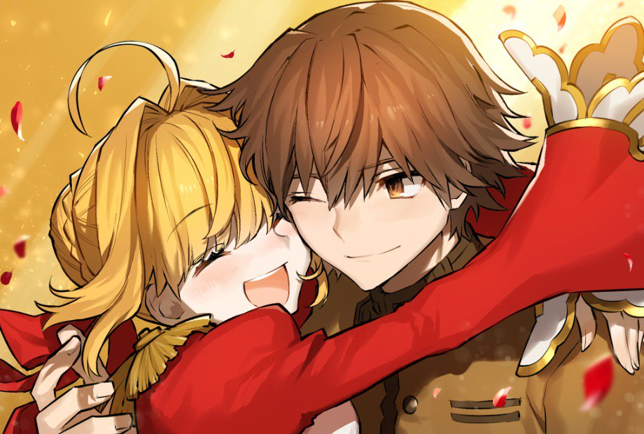 1boy 1girl :d armor blonde_hair brown_eyes brown_hair brown_jacket closed_eyes commentary couple dress fate/extra fate_(series) gojou_shinra hetero hug jacket kishinami_hakuno_(male) long_sleeves nero_claudius_(fate) nero_claudius_(fate)_(all) one_eye_closed open_mouth pauldrons red_dress school_uniform smile wide_sleeves
