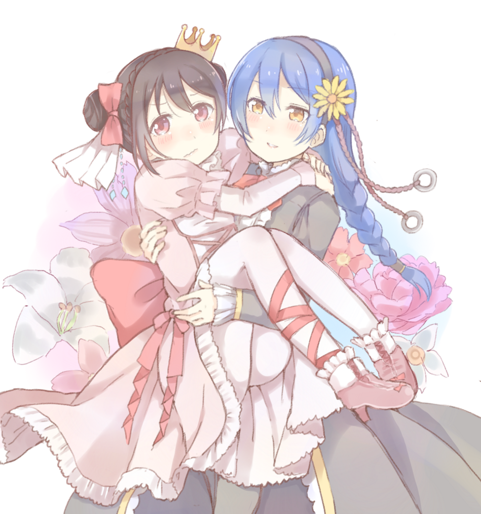 2girls bangs black_hair blue_hair braid carrying commentary_request crown double_bun flower hair_between_eyes hair_bun hair_flower hair_ornament hair_ribbon long_hair long_sleeves love_live! love_live!_school_idol_project multiple_girls open_mouth pantyhose princess_carry red_eyes ribbon shijimi_kozou simple_background skirt smile sonoda_umi sunflower white_legwear yazawa_nico yellow_eyes