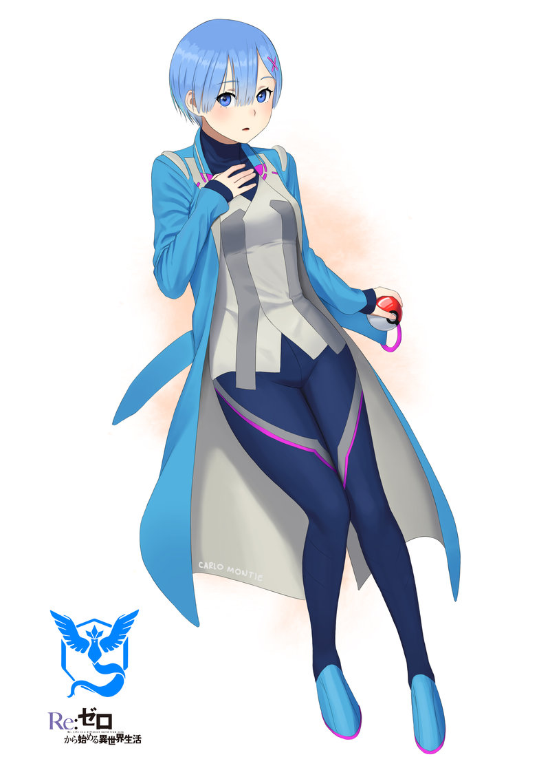 1girl artist_name blanche_(pokemon) blanche_(pokemon)_(cosplay) blue_coat blue_eyes blue_footwear blue_hair blush carlo_montie coat cosplay full_body hair_between_eyes hair_ornament hand_on_own_chest looking_at_viewer open_clothes open_coat pants parted_lips poke_ball pokemon pokemon_go re:zero_kara_hajimeru_isekai_seikatsu rem_(re:zero) short_hair sleeves_past_wrists solo x_hair_ornament