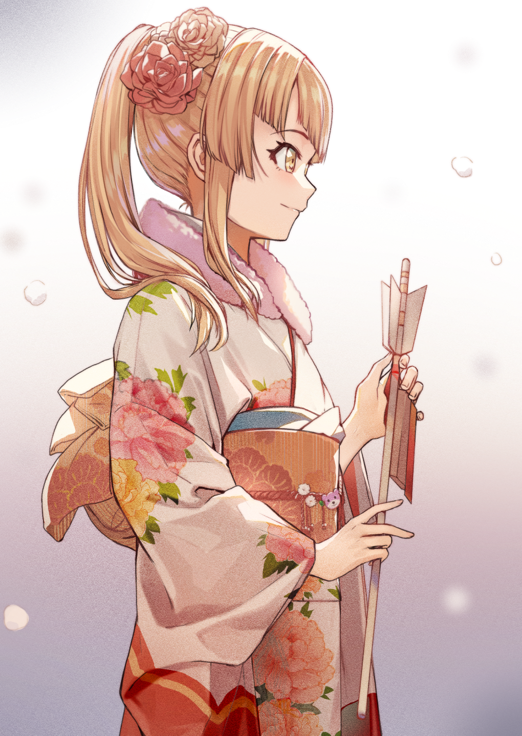 1girl arrow bang_dream! blonde_hair brown_hair closed_mouth floral_print flower from_side hair_flower hair_ornament hamaya highres holding japanese_clothes kimono long_hair long_sleeves multicolored multicolored_background obi piza_rokumai ponytail profile sash smile snow solo standing tsurumaki_kokoro