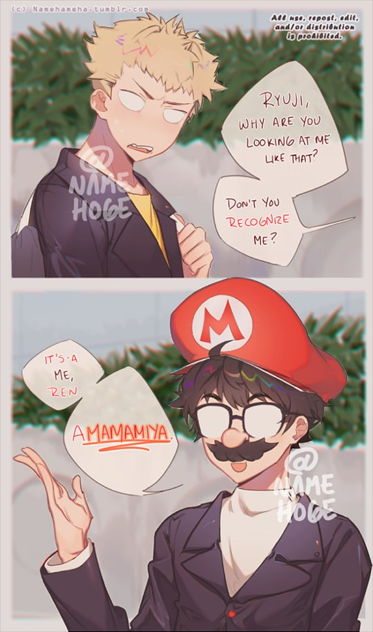 2boys amamiya_ren artist_request black_hair blonde_hair cosplay english facial_hair glasses male_focus mario mario_(cosplay) mario_(series) multiple_boys mustache persona persona_5 sakamoto_ryuuji short_hair