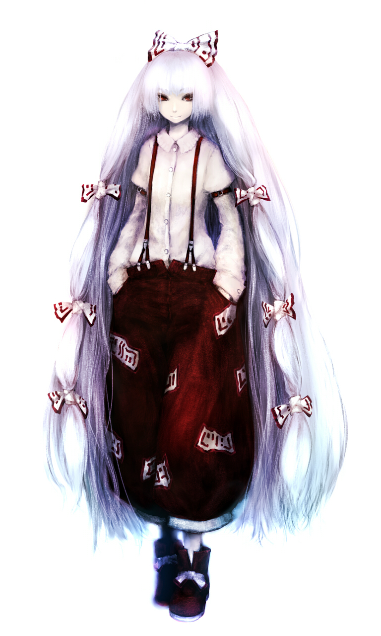 1girl absurdly_long_hair ankle_boots bangs belt belt_buckle boots bow buckle buttons closed_mouth collared_shirt dress_shirt facing_away flat_chest fujiwara_no_mokou full_body hair_bow hair_ribbon hands_in_pockets highres ise_(0425) lavender_hair long_hair long_sleeves looking_at_viewer multicolored multicolored_clothes ofuda pants pocket puffy_long_sleeves puffy_sleeves red_belt red_eyes red_footwear red_pants ribbon shirt simple_background sleeve_cuffs smile solo standing suspenders touhou tress_ribbon very_long_hair white_background white_bow white_ribbon white_shirt