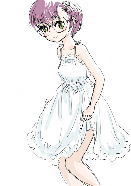 1girl breasts chrono_trigger dress glasses lucca_ashtear purple_hair s-a-murai short_hair smile solo