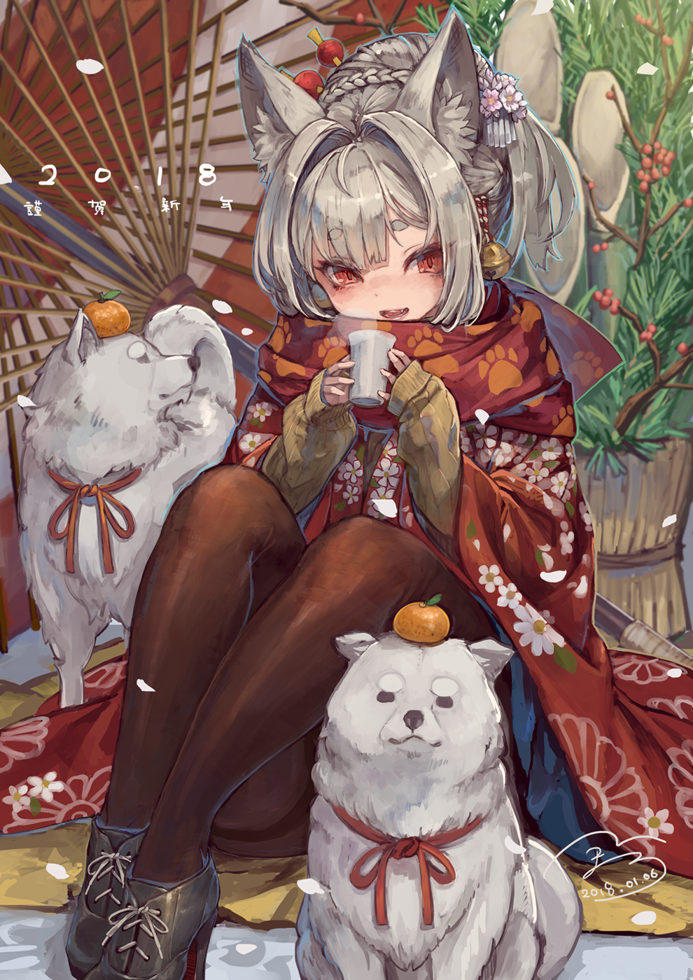 1girl :d animal_ears black_legwear boots braid cup dog dog_ears food fruit grey_hair hair_ornament highres long_hair mandarin_orange open_mouth oriental_umbrella original pantyhose red_eyes sitting sleeves_past_wrists smile suzuno_(bookshelf) sweater teeth umbrella