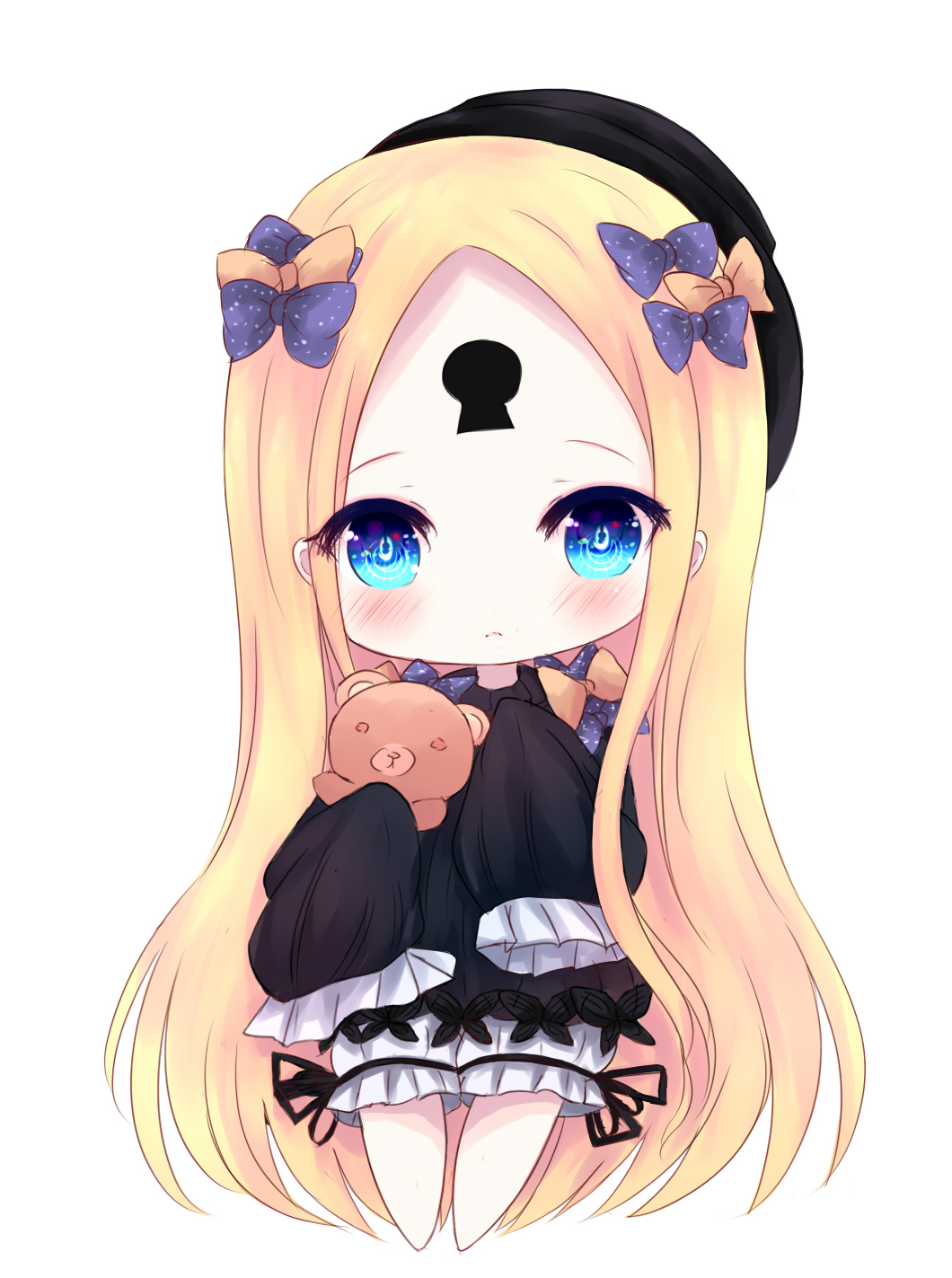 1girl abigail_williams_(fate/grand_order) bangs barefoot black_bow black_dress black_hat blonde_hair bloomers blue_eyes blush bow butterfly chibi closed_mouth dress fate/grand_order fate_(series) full_body hair_bow hat head_tilt highres keyhole long_hair long_sleeves looking_at_viewer miko_(no1122334455a) object_hug orange_bow parted_bangs polka_dot polka_dot_bow simple_background sleeves_past_wrists solo standing stuffed_animal stuffed_toy teddy_bear underwear very_long_hair white_background white_bloomers