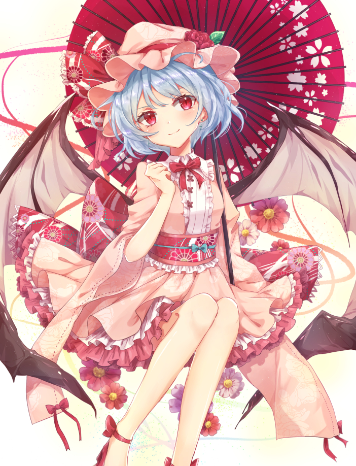 1girl adapted_costume bat_wings blue_hair bow breasts commentary dress ear_piercing floral_print flower frills hat hat_flower hat_ribbon konnyaku_(yuukachan_51) leaf long_sleeves looking_at_viewer mob_cap neck_bow oriental_umbrella petticoat piercing pink_dress pink_flower purple_flower red_bow red_eyes red_flower red_footwear red_neckwear red_ribbon red_rose remilia_scarlet ribbon rose short_hair sitting small_breasts smile solo touhou umbrella white_background wide_sleeves wings