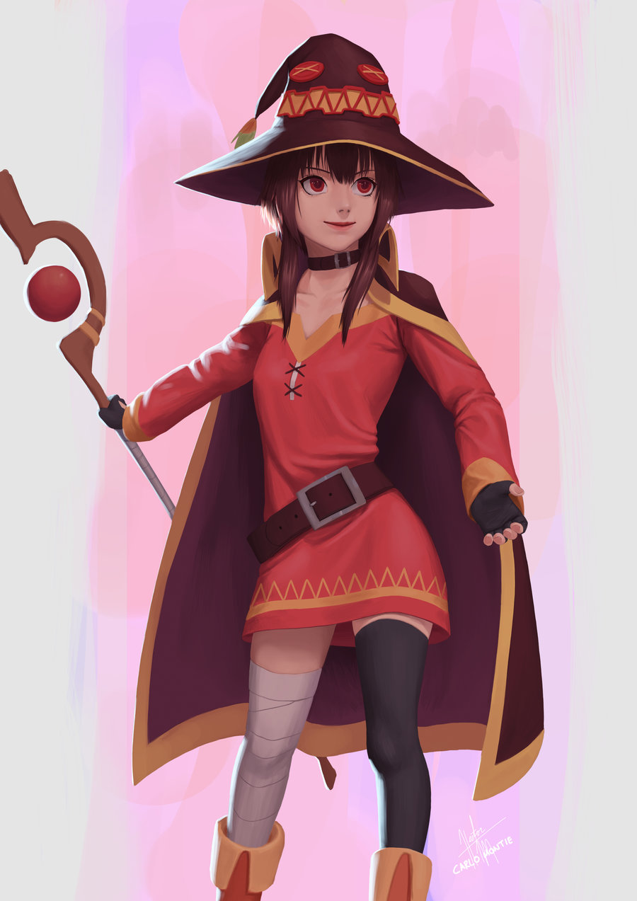 1girl bandage bandaged_leg belt black_gloves black_legwear boots button_eyes cape carlo_montie collar collarbone dress fingerless_gloves gloves hat highres holding holding_staff kono_subarashii_sekai_ni_shukufuku_wo! long_sleeves loose_belt mage megumin mismatched_legwear red_dress red_eyes red_lips short_hair_with_long_locks single_thighhigh smile solo staff thigh-highs witch_hat zettai_ryouiki