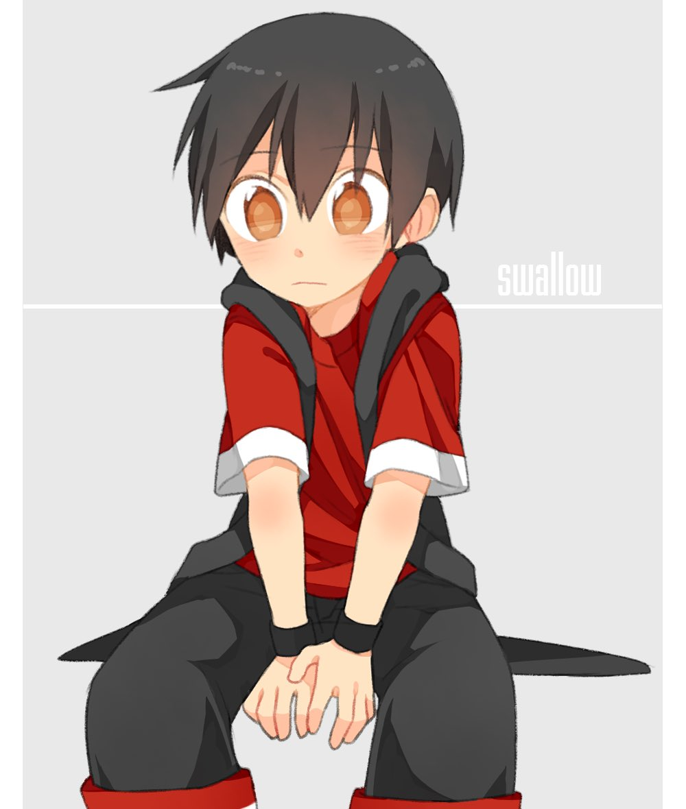 1boy black_hair black_shorts black_vest black_wristband eyebrows_visible_through_hair male_focus original red_shirt shirt shorts sitting solo touyama_(t3yama2) vest yellow_eyes