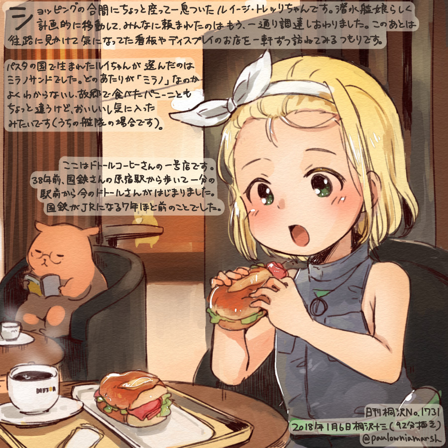 1girl animal blonde_hair colored_pencil_(medium) commentary_request dated food green_eyes hairband hamster holding holding_food kantai_collection kirisawa_juuzou luigi_torelli_(kantai_collection) numbered open_mouth short_hair sleeveless solo traditional_media translation_request twitter_username white_hairband