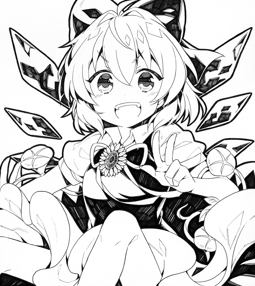 1girl bow cirno flower hair_bow ice ice_wings kurisu_sai looking_at_viewer monochrome open_mouth short_hair simple_background smile solo sunflower touhou v white_background wings
