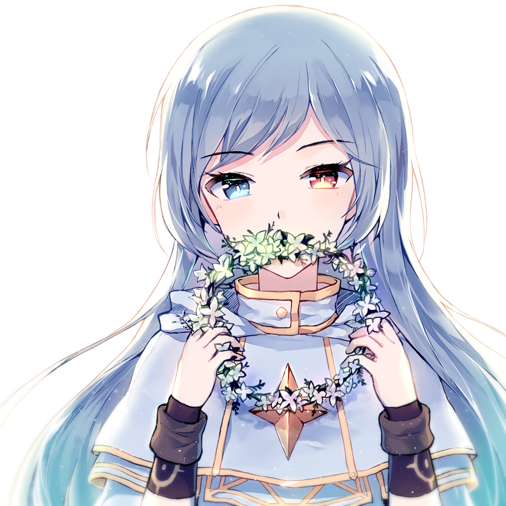 1girl bangs blue_eyes blue_hair blush bright_pupils brown_eyes capelet covering_mouth eyebrows_visible_through_hair eyelashes flower_wreath heterochromia holding long_hair long_sleeves looking_at_viewer maplestory mechuragi parted_bangs shiny shiny_hair solo straight_hair tsurime upper_body wreath wristband