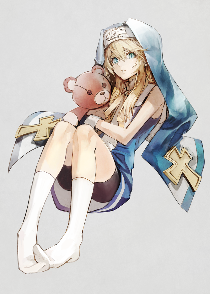 1boy aqua_eyes bangs banpai_akira bare_shoulders bike_shorts black_gloves blonde_hair blue_dress bridget_(guilty_gear) cross dress eyebrows eyelashes facing_away full_body gloves guilty_gear habit hair_between_eyes holding holding_stuffed_animal holding_stuffed_toy long_hair looking_at_viewer mars_symbol multicolored multicolored_clothes multicolored_dress parted_lips ribbon short_dress simple_background sleeveless sleeveless_dress solo stuffed_animal stuffed_toy tareme teddy_bear trap turtleneck two-tone_dress white_dress white_legwear yellow_ribbon