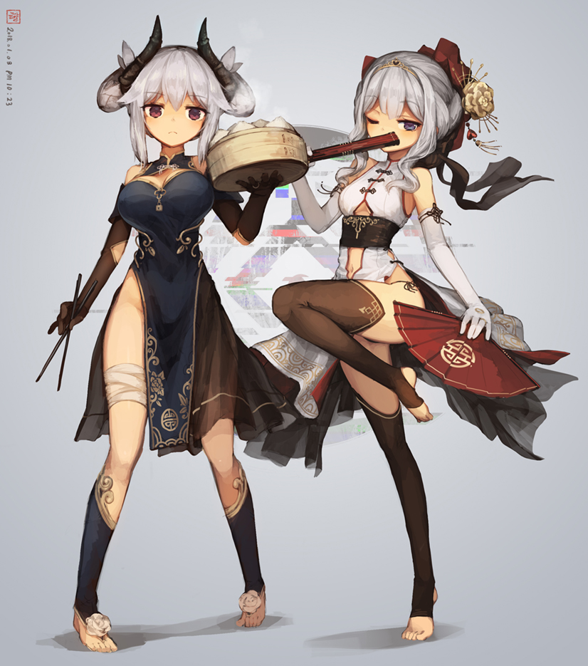 2girls bangs bare_shoulders bent_knee black_dress black_legwear black_panties black_ribbon china_dress chinese_clothes closed_fan covering_mouth dated dress dual_wielding elbow_gloves eyebrows_visible_through_hair fan feet flower folding_fan full_body gloves hair_flower hair_ornament hair_ribbon hair_up holding holding_fan jakoujika long_hair looking_at_viewer multiple_girls navel navel_cutout original panties petticoat ribbon sash side-tie_panties side_slit sidelocks solo standing standing_on_one_leg string_panties thigh-highs tiara timestamp toeless_legwear toes underwear violet_eyes white_dress white_gloves white_hair