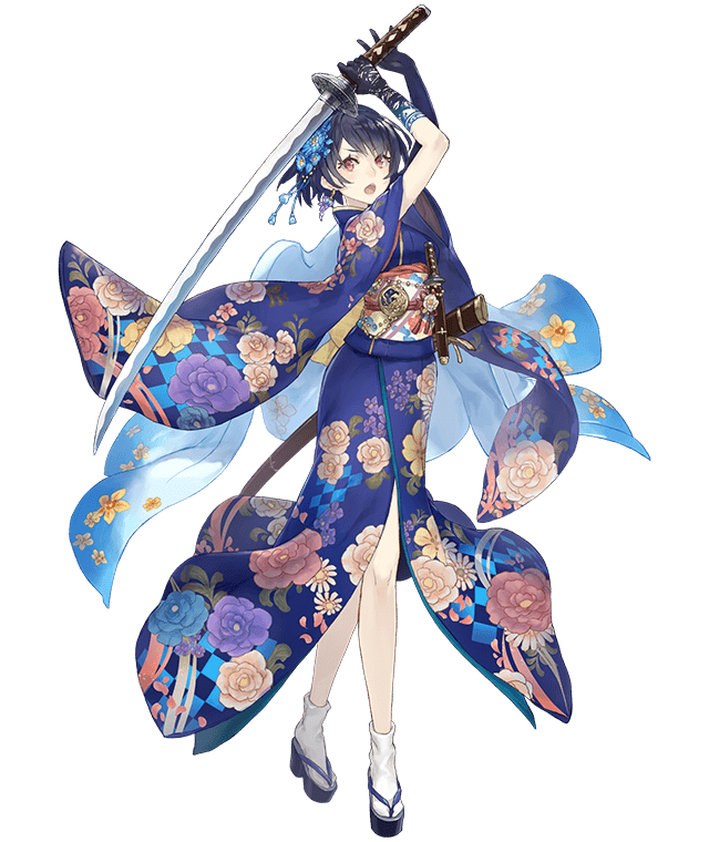 1girl alice_(sinoalice) arms_up artist_request black_gloves black_hair brown_eyes floral_print flower full_body gloves hair_flower hair_ornament japanese_clothes katana kimono obi official_art open_mouth sandals sash short_hair sinoalice solo sword tabi transparent_background weapon white_legwear wide_sleeves