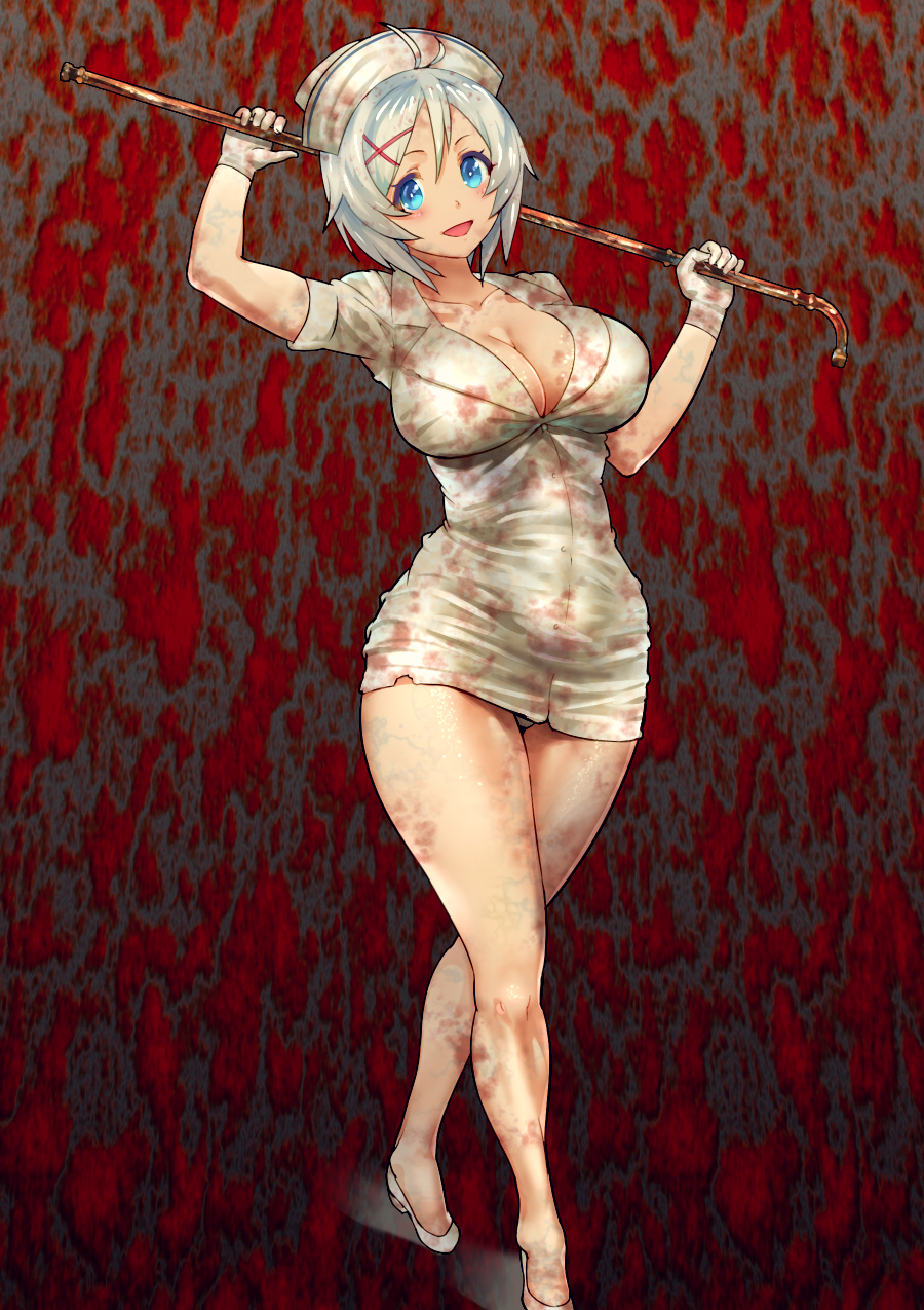 1girl :d blood bloody_clothes breasts cleavage dennou_shoujo_youtuber_shiro dokiyuri full_body gloves hair_ornament hat highres holding holding_weapon large_breasts looking_at_viewer open_mouth pipe shiro_(dennou_shoujo_youtuber_shiro) silent_hill smile solo standing thick_thighs thighs weapon white_footwear white_gloves white_hair white_hat x_hair_ornament