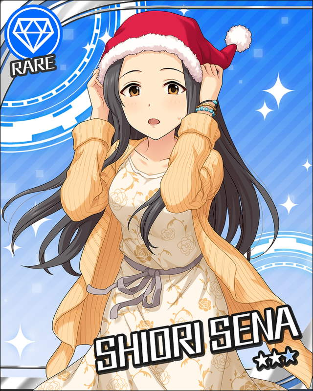 1girl :o artist_request black_hair blue_background bracelet brown_eyes card_(medium) character_name christmas collarbone diamond_(symbol) dress floral_print hat idolmaster idolmaster_cinderella_girls jewelry long_hair looking_at_viewer official_art open_mouth santa_hat sena_shiori_(idolmaster) solo sweatdrop sweater