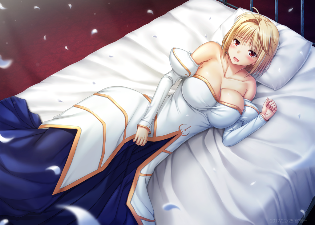 1girl 2017 :d antenna_hair arcueid_brunestud bare_shoulders bed blonde_hair blush breasts cleavage clenched_hand collarbone dated detached_sleeves dress eyebrows_visible_through_hair from_above large_breasts long_sleeves lying miyai_sen number on_bed on_side open_mouth petals pillow red_eyes short_hair smile solo tsukihime