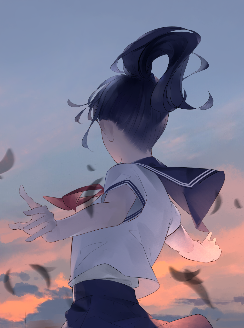 1girl black_hair blue_neckwear blue_skirt blue_sky facing_away from_behind highres long_hair necktie original outdoors outstretched_arms pleated_skirt ponytail red_neckwear shirt short_sleeves skirt sky solo sousou_(sousouworks) spread_arms standing sunset upper_body white_shirt