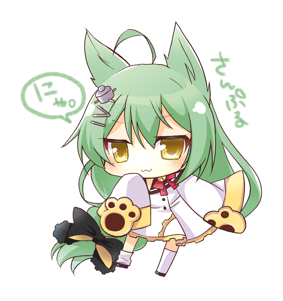akashi_(azur_lane) brown_eyes chibi green_hair short_hair