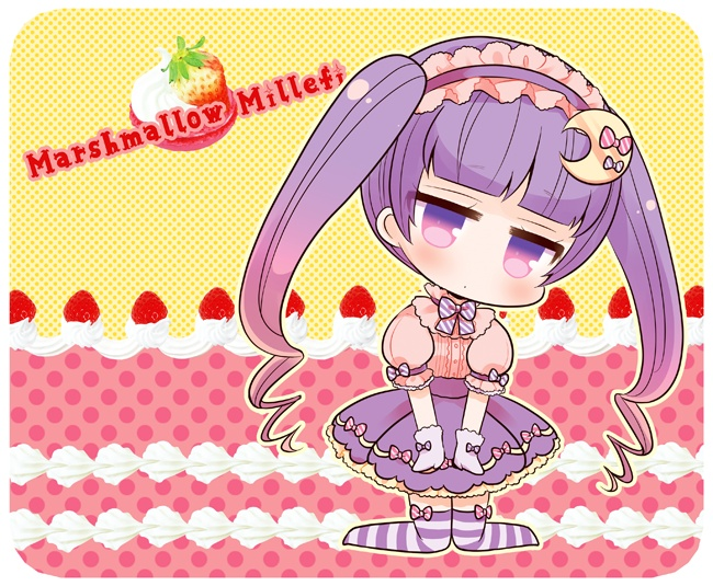 1girl artist_name bangs blunt_bangs blush center_frills chibi closed_mouth commentary_request crescent crescent_hair_ornament eyebrows_visible_through_hair food frilled_hairband frills fruit hair_ornament hairband head_tilt kneeling long_hair looking_at_viewer marshmallow_mille no_shoes patchouli_knowledge pink_shirt pleated_skirt puffy_short_sleeves puffy_sleeves purple_hair purple_hairband purple_skirt shirt short_sleeves sidelocks skirt solo strawberry striped striped_legwear thigh-highs touhou twintails very_long_hair violet_eyes whipped_cream